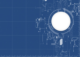Technological abstract digital technical blueprint background vector