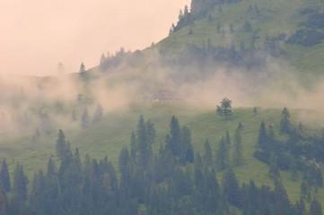 Door stickers Morning with fog Gebirge Hochgebirge Landschaft Berge Nebel
