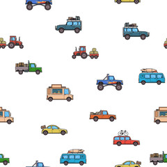 Colorful cars and trucks seamless pattern. White background. Vector illustration. Flat style.