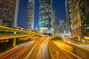 Hong Kong cityscape traffic street at night