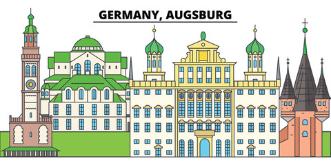 Germany, Augsburg. City skyline, architecture, buildings, streets, silhouette, landscape, panorama, landmarks, icons. Editable strokes. Flat design line vector illustration concept