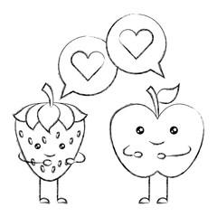 kawaii apple and strawberry speech bubble cartoon vector illustration sketch