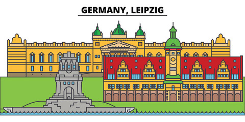 Germany, Leipzig. City skyline, architecture, buildings, streets, silhouette, landscape, panorama, landmarks, icons. Editable strokes. Flat design line vector illustration concept
