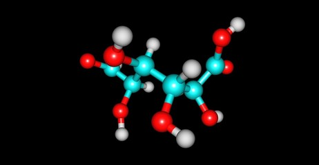 Galacturonic acid molecular structure isolated on black