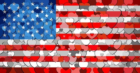 USA flag made of hearts background - Illustration, 