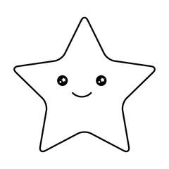 cute happy kawaii star cartoon image vector illustration outline