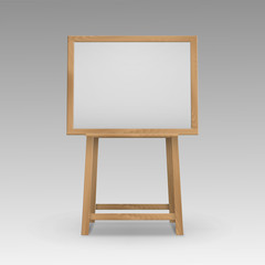Vector Wooden Brown Sienna Art Board Easel with Mock Up Empty Blank Horizontal Canvas in Frame Isolated on Background