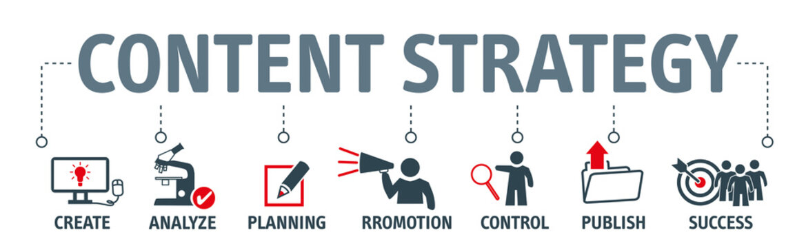 content strategy concept chart icons on banner