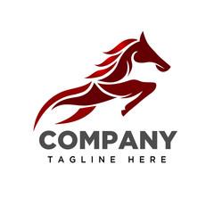 Jumping fire horse logo