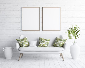 Mock up frames in living room interior with white sofa on white brick wall, Scandinavian style, 3D render