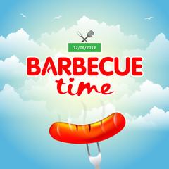 Barbecue party design, Barbecue invitation. Barbecue logo. BBQ template menu design. Barbecue Food flyer. Barbecue advertisement. Barbecue ad design.