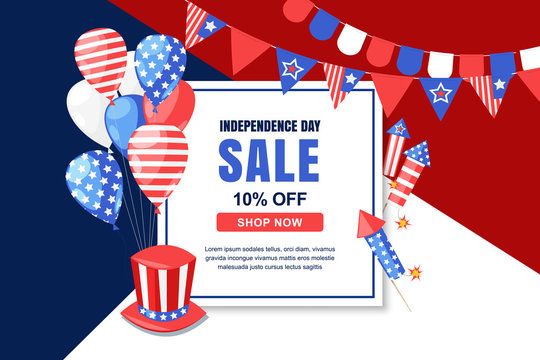 USA Independence Day sale vector banner template. 4 of July celebration concept. Holiday multicolor background