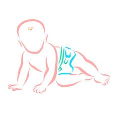 A small child crawls in a diaper
