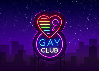 Gay club neon sign. Logo in neon style, light banner, billboard, night bright advertising for gay club, lgbt, party, gay society. Same-sex love. Design template. Vector Billboard