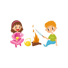 Cheerful little kids. Girl drinking tea from cup, boy cooking marshmallow on fire. Summer outdoor activity. Flat vector design