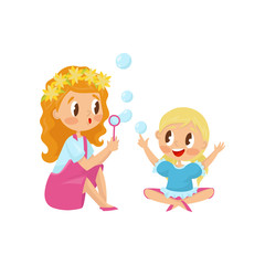 Cute girl blowing soap bubbles with her little sister. Funny kids having fun together. Outdoor activity. Flat vector design