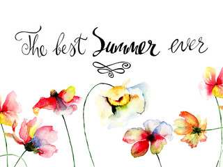 Stylized flowers watercolor illustration with title the best summer ever