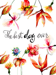 Colorful flowers with title the best day ever