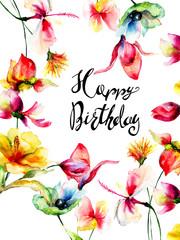 Romantic flowers with title Happy Birthday