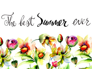 Original floral background with with title the best summer ever