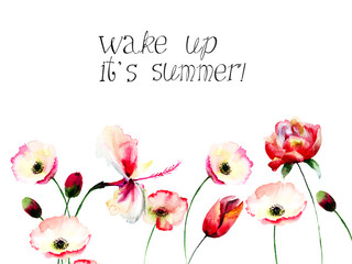 Poppy flowers with title wake up it is summer