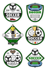 Soccer championship badge of football sport game