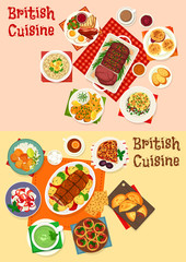 British cuisine icon of breakfast and dinner dish