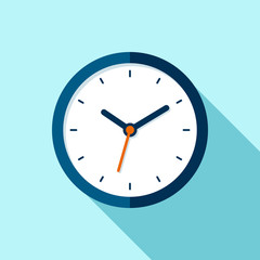 Clock icon in flat style, round timer on blue background. Business watch. Vector design element for you project