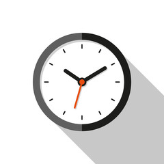 Clock icon in flat style, round timer on white background. Business watch. Vector design element for you project