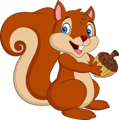 Cartoon squirrel holding an acorn
