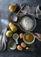 Cooking cake with fresh pears