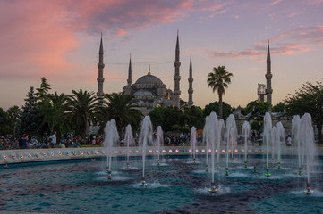 Fototapete - Sultan Ahmet Mosque on sunset