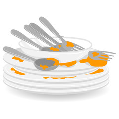 Illustration of Stack of Dirty Plates with Spoon and Fork