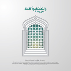 Ramadan Kareem islamic greeting card design with 3D dome mosque, door or window, and pattern element. paper cut background style. Vector illustration.