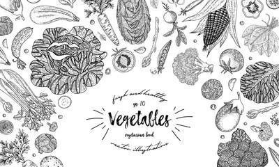 Vegetables top view frame. Ink hand drawn vector illustration. Farmers market menu design template. Organic vegetables food poster. Vintage hand drawn sketch vector illustration. Engraved style.