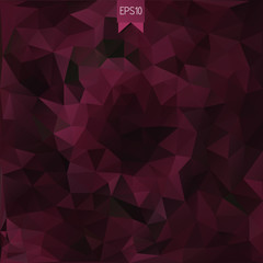Vector abstract background in low poly style with badge. Polygonal template of vinous rumpled triangles. All isolated and layered