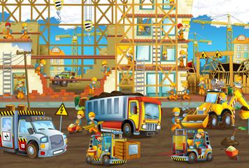 cartoon scene with men working doing industrial jobs - illustration for children