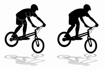 silhouette of a cyclist - biketrial , vector draw