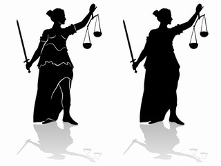silhouette of the statue of justice , vector draw