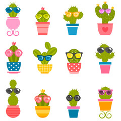 set of cactuses with sunglasses isolated on white