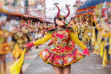 Dancers at Oruro Carnival in Bolivia, declared UNESCO Cultural World Heritag in Oruro, Bolivia