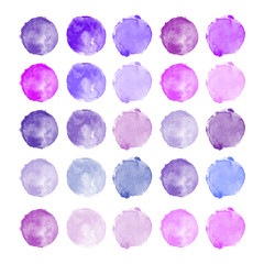 Set of watercolor shapes. Watercolors blobs. Set of colorful watercolor hand painted circles isolated on white. Illustration for artistic design. Round stains, blobs of purple, lilac colors