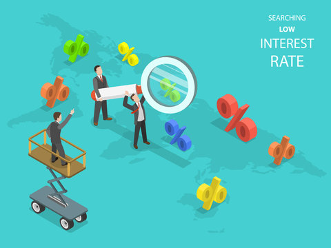 Searching low interest rate flat isometric vector. Business men using magnifying glass are searching capable locations in the Earth map for with lowest rates.
