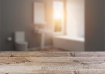 Background with empty wooden table. Flooring.. Bathroom interior bathtub
