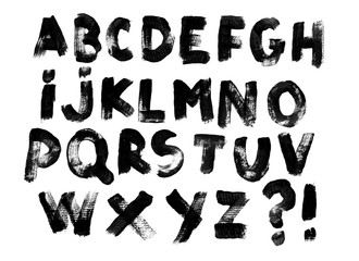 Alphabet set of black capital handwritten letters on a white background. Drawn by semi-dry brush with unpainted areas.