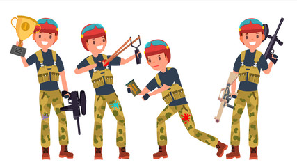 Paintball Player Vector. Shooting, Running. Teammates In Different Poses. Gun. Battle Sport Competitions. Cartoon Character Illustration