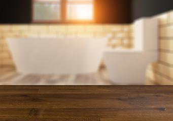 Scandinavian bathroom, classic  vintage interior design.  Empty wooden table.