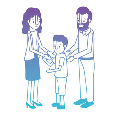 parents couple with son isometric characters vector illustration design