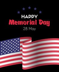 Happy memorial day 26 May. Vector greeting card