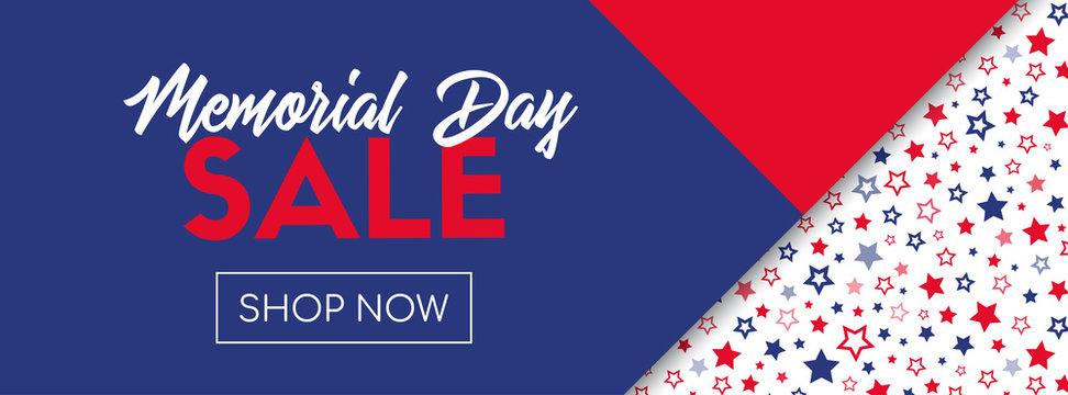 Memorial day sale vector banner template